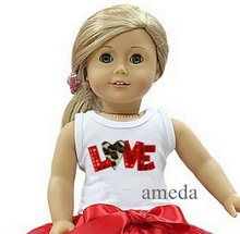 """18"""" American Girl Doll Valentine's Day Leopard Love Tank Top Clothes"""