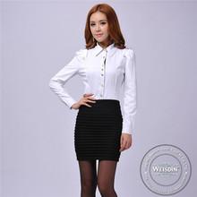 plain dyed new style silk/cotton 2012 ladies round neck shirt