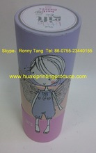 light fresh purple carboard cylindrical paper package box with lovely girl for acessory packing in Chinese Manufacturer