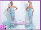 Sweetheart Embroidered Mermaid Buttom See Through Vestidos De Noche Prom Dress Blue Turquoise