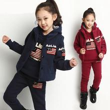 Newest child clothes wholesale children's boutique clothing fashion children three pieces thicken sets(M20809A)