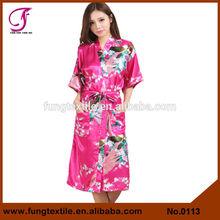 0113 Long Design Peacock Silk Sleep Robes