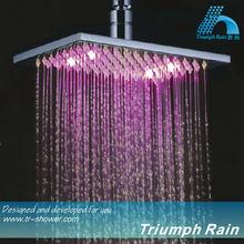 JFQ045CP 3 color changing Copper Bathroom Top Square Rain LED Shower