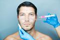 Seringue stérile cosmétiques croix.- lié d'acide hyaluronique par voie cutanée fillersolvants serrer la peau