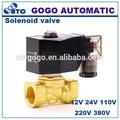 2 manera conector de la manguera de latón de gas natural de las válvulas de solenoide