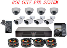 Hot! Outdoor & Indoor IR Bullet 1000tvl Security Set for CCTV 8 Color DVR Camera System