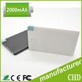 Tarjeta de crédito de banco de potencia/mini banco de potencia 2200 mah usb de carga de la batería