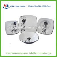 Square shape ceramic lavender dinnerware,cut decal print porcelain english dinnerware
