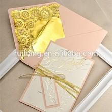 Gold Glitter Wedding Invitation, Peach Gold Invitation, Wedding Glitter Lace Invitations