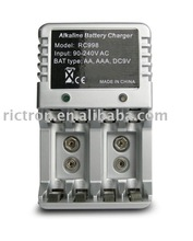 Non-rechargeable alkaline battery charger, Ni-MH, Ni-CD, RAM AAA, AA, 9V battery charger, RC998 00069