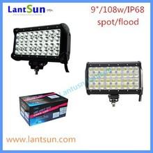 super bright led auto light 9inch 108w quad row waterproof IP68 one year warranty