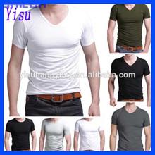 2015 Fashion Men's V-neck Blank Pure color T-shirts