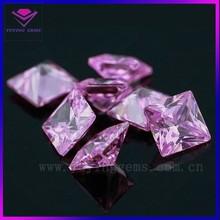Wholesale Square Shape Pink 8*8mm Imitation Cubic Zirconia Gems Jewelry