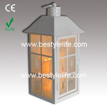White moroccan distressed hanging candle holder lantern