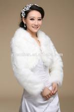 Wholesale FJ-020 Long Sleeve Winter Fur Coat Bridal Bolero Faux Short Fur Jackets