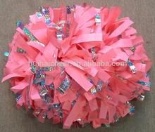 plastic pink glitter pom pons