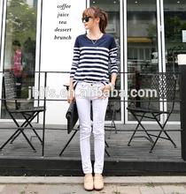OEM women's navy blue stripe long sleeve tshirt