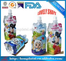 plástico caliente venta de pico vertedor bolsa de bebida con pico de envases