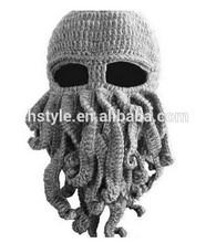 2014 Handmade Knitted Crochet Beard Hat Bicycle Mask Cap Octopus Cool Black SP055