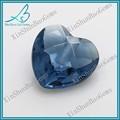 hecho a mano de gemas de vidrio azul corazón corte de diamantes al por mayor