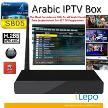 Cheap chinese tv free to air set top box 407 mid-east channels IPTV android tv box Amlogic S805 Quad-Core