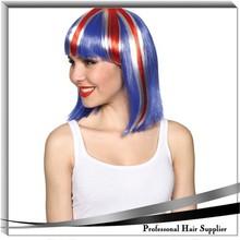 England soccer fan's wig , Ladies long hair wig for football fan, lovely carnival party wigs