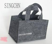 Fashion pretty lady wool felt tote bag,felt shopping bag with quited chain handle