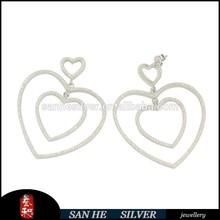 2014 new design fashion Heart Earrings,925 silver
