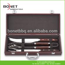 QWS0003 Rose Wood Handle BBQ Tool Set Novelty BBQ