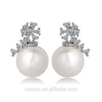2015 Wholesale Delicate Pearl Stud Earring Silver Jewelry