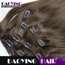 malaysian hair extension Medium Brown(#4)clip in hair, hair clip tic tac