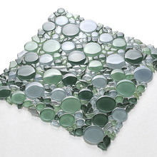 30x30 New style dark green round glass mosaic decorated wall tile
