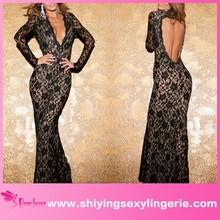 Nueva venta al por mayor negro Plunge V del cordón del vestido Maxi con de la cucharada detrás hawaiano vestido de noche