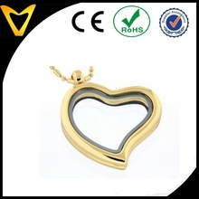 Gold plating heart glass pendant,free gift free postage