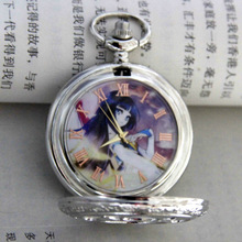 Japanese Anime waist chain Pocket Watch silver Quartz Clock Pocket Watch With Chain Factory Direct Sale!