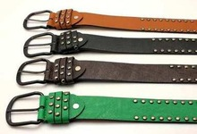 2015 young design rivet leather belt brown color pin buckle
