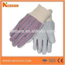 Stripe leather working glove split rib top cuff