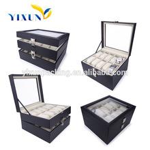 OEM 20 grid black leather watch display case leather watch storage case