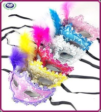 Stick Cloth Cap Side Feather Mask Halloween Party Princess Masquerade Masks