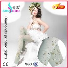 2015 diamonds printing pantyhose silk stockings