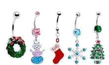 Holiday belly rings christmas ornament navel banana ring stainless steel piercing jewelry