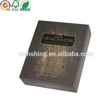 Elegant custom design hot stamping kraft paper wooden cigar box/ cigar humidor box