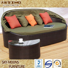 leisure garden daybed with canopy patio outdoor wicker lounge bed(L031)