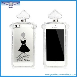 Hot Selling Lovestal Luxury Perfume Bottle Case in Black Dress With Chain Cover for iPhone 4/4S 5/5S