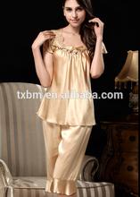 2015 las ventas caliente bordado las mujeres ropa de dormir de seda las niñas pijama traje 2 conjunto con estampado de leopardo