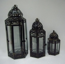 set of 3 bronze moroccan style metal iron candle lantern with clear glass