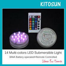 Fashion Promotion Flashing Novelty 14LED Super Bright 24 keys Remote conrol Party Led Submersible Bulb light Base for christmas