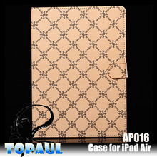Luxury retro style sound enhancer leather case for ipad 5 tablet cover