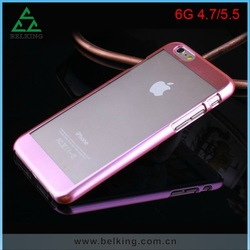 Luxury Ultra thin Electroplate Metal Clear Case back cover for iPhone 6/ 6 Plus
