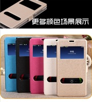 Dual window view leather flip mobile phone case for xiaomi redmi